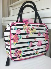 New Betsey Johnson Weekender Cosmetic Travel Bag Floral Multi Pink/Blk/Wht NWT