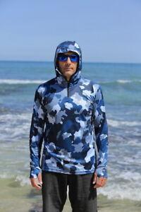 Adults Sun Safe UV Blue Camo HOODIE
