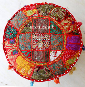 Indian Vintage Red Bohemian Pouf Cover Ottoman Footstool Seat Covers Home Decor