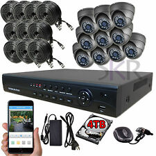 Sikker 16 Ch Channel AHD DVR 10 pcs 2 Megapixel 1080P Security Camera System 4TB