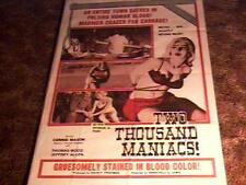 TWO THOUSAND MANIACS POSTER 1964 HERSCHELL GORDON LEWIS