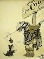 Oliver Herford KITTEN IN SCOTLAND 1911 Cat Art Matted