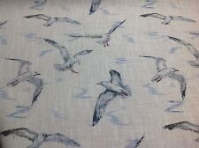 Clarke + Clarke SEAGULL Linen Blend Fabric Curtains/ Roman Blinds/Cushions/Craft
