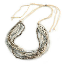 White/ Transparent/ Silver/ Taupe Glass Bead Multi Strand with Ivory Suede Cord