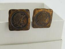 Conquistadors Signed Rebales Frank 2B1 Vintage Copper Cufflinks w/ Spanish