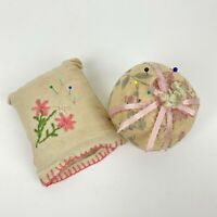 Vtg Set of 2 Pin Cushions Embroidered Sachet & Round Ball Pin Cushions Hand Made