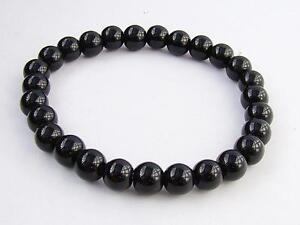 Men's 8mm gemstone BLACK GLASS  streachable elasticated 8inch bracelet