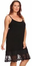Layered Crochet Lace Trim Long Camisole Slip Top or Dress Extender Black Plus