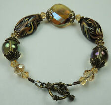 crafted Black Brown Beige Lampwork Bracelet with Crystal  Brass Tone End Caps