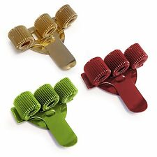 3 x Triple Metal Pen Holder with Pocket Clip - Ideal For Nurses - Gold/Red/Green