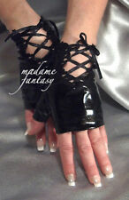 SEXY BLACK LACE UP TIE WET LOOK FINGERLESS GLOVES MF 5035