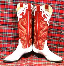 Larry Mahan Tall Red Vintage Cowboy Boots Ten Row Rainbow Stitch Women's 6 B