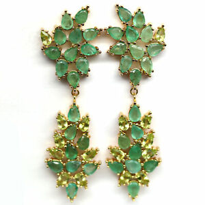 NATURAL UNHEATED GREEN EMERALD WITH PERIDOT LONG EARRINGS 925 STERLING SILVER