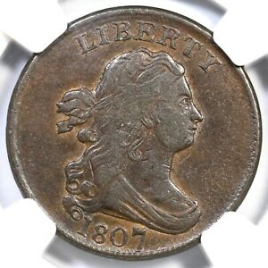 1807 C-1 NGC XF 45 Draped Bust Half Cent Coin 1/2c