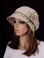 M265 Beige Beauty Women's Flower Cotton Hat Round Brim Cap Cloche Summer Spring