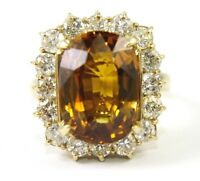 Huge Oval Orange Sapphire & Diamond Halo Lady's Ring 14k Yellow Gold 12.42Ct