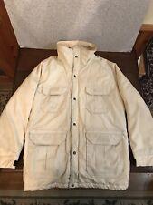 VINTAGE WOOLRICH MENS MEDIUM JACKET Cream w/ Blue Nylon Cotton Midweight Coat