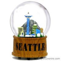 Seattle Skyline Musical Snow Globe - Washington City Christmas Souvenir Gift