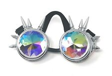 Steampunk Goggles Silver with Kaleidoscope Lenses Spike Cyber Vintage Glasses UK