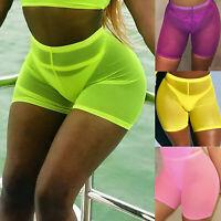 Women Hot Pants Summer Shorts Beach Elastic High Waist Bikini Cover Mesh Trouser