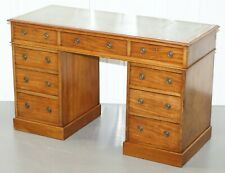 LOVELY HEAL & SONS VICTORIAN MAHOGANY WITH REGENCY BLUE LEATHER TOP PARTNER DESK