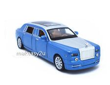 1:32 Rolls-Royce Phantom Diecast Metal Sound Light Pullback Model Car Blue