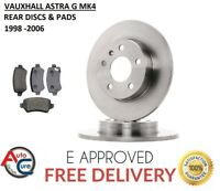 VAUXHALL ASTRA G MK4 1998 - 2006 REAR BRAKE DISCS AND PADS  **NEW**