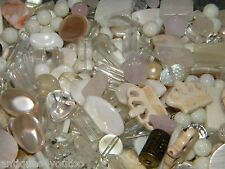 NEW MIXED RANDOM 6/oz LOOSE BEADS Lot White/Cream Pearls, Crystal, clear