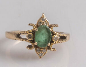 14k Gold Emerald and Diamond Antique Vintage Ring Size 6.5