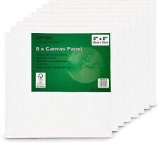 "Artgeo 20cm x 20cm (8"" x 8"") 3mm FSC Canvas Panel, Pack of 8"