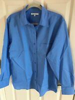 Woman's Foxcroft wrinkle free size 12 regular blue cotton blend blouse