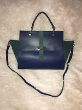 Michaella Barri blue leather Suede Convertible Wing Satchel Made In Italy NEW