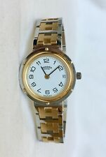 Authentic Ladies Hermes Clipper 18KGP/SS Watch New Battery Holiday Gift with Box