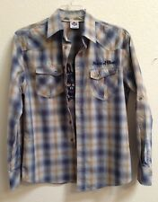 Dragonfly HOUSE OF BLUES Rockaholic Plaid Western Shirt Embroidered Skull Medium