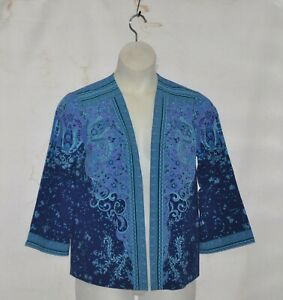 Bob Mackie Moroccan Floral Printed Woven Cardigan Size S Periwinkle