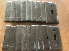 18 Vintage Brown Sierra Ribbed Switch Plate Covers. Art Deco