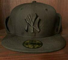 NEW ERA NEW YORK YANKEES FITTED HAT BLACK CAP 59FIFTY WINTER FOLD MEN SZ 7 1/8
