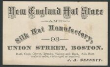 1870s Trade Card for Boston Silk Hat Manufacturer - Top Hat Maker / Store