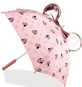 Disney Minnie Mouse Ears Light Up Kids Umbrella Batteries NEW Pink