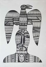 MAN AND BIRD by Andrey SIMAKOV, Original indian ink Drawing RUSSIAN