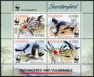 Uganda Birds of Prey on Stamps 2012 MNH Secretarybird Endangered Birds WWF 4v MS