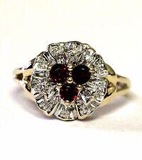 10k yellow gold .009ct SI2 H women's diamond garnet ring band 3.4g size 5.75