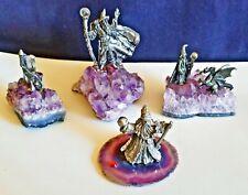Lot 4 Pewter Wizards ,Dragons, Castle Amethyst Quartz, Crystal Ball, Gems