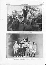 Président Paul Kruger de Marseille à Paris /Paysage Ruhr Allemagne GRAVURE 1900