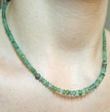 50ct Zambian Emerald shaded green medium transparency Diamond silver necklace