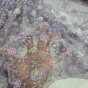 Lavender Beaded Lace Embroidery Sequin Floral Flowers Fabric By The Yard Bridal