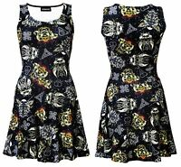 Gothic Grunge Texture Skulls Swords Wings Celtic Skull Roses Retro Skater Dress