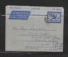 entier postal  aérogramme Afrique du sud  voyagée en 1958 pour la France