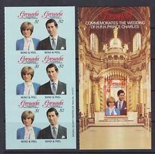 1981 Royal Wedding Charles & Diana MNH Stamp Booklet Panes Grenada