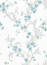SALE   Classic Glitter Floral Trail Wallpaper Teal White 6933-08